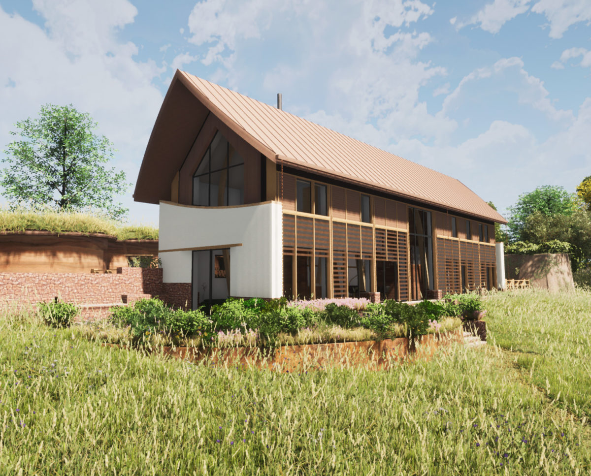 South elevation of The Linhay (Para 80). Designed by Hawkes Architecture, this energy efficient grand design, follows passive house principles.
