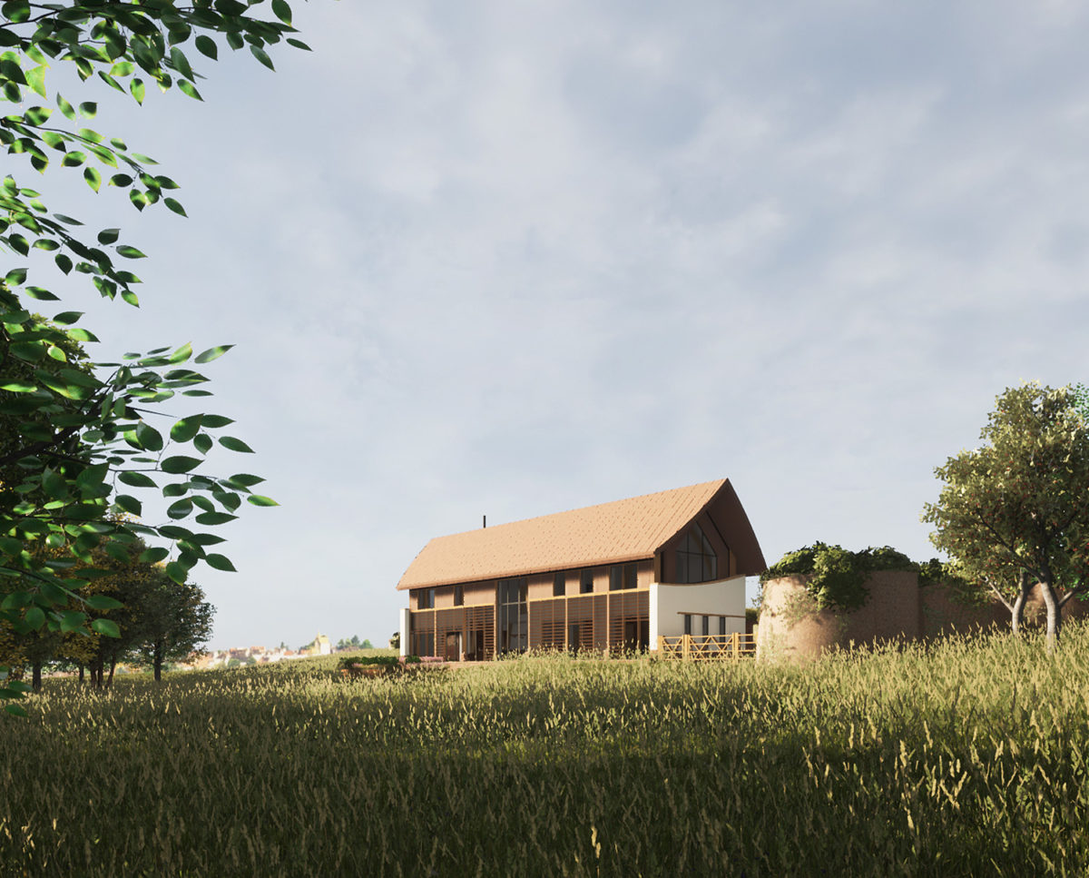 Side elevation of The Linhay (Para 80). Designed by Hawkes Architecture, this energy efficient grand design, follows passive house principles.