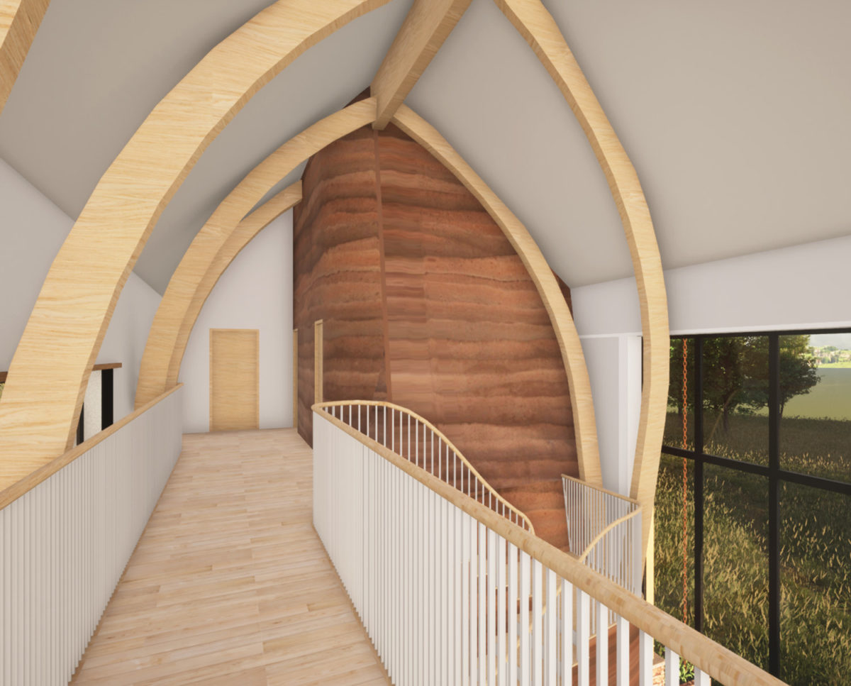 First floor interior of The Linhay (Para 80). Designed by Hawkes Architecture, this energy efficient grand design, follows passive house principles.