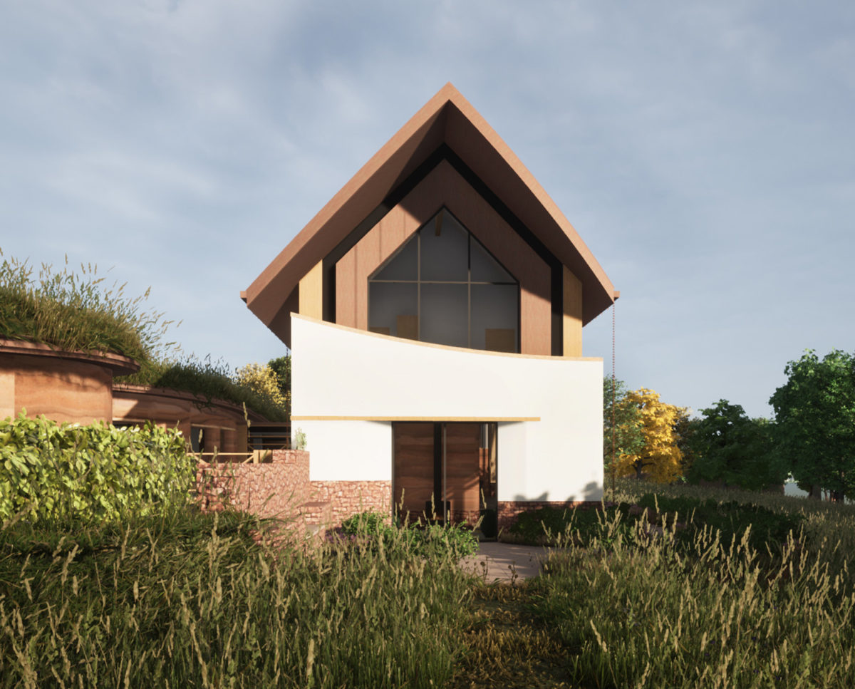 Front elevation of The Linhay (Para 80). Designed by Hawkes Architecture, this energy efficient grand design, follows passive house principles.