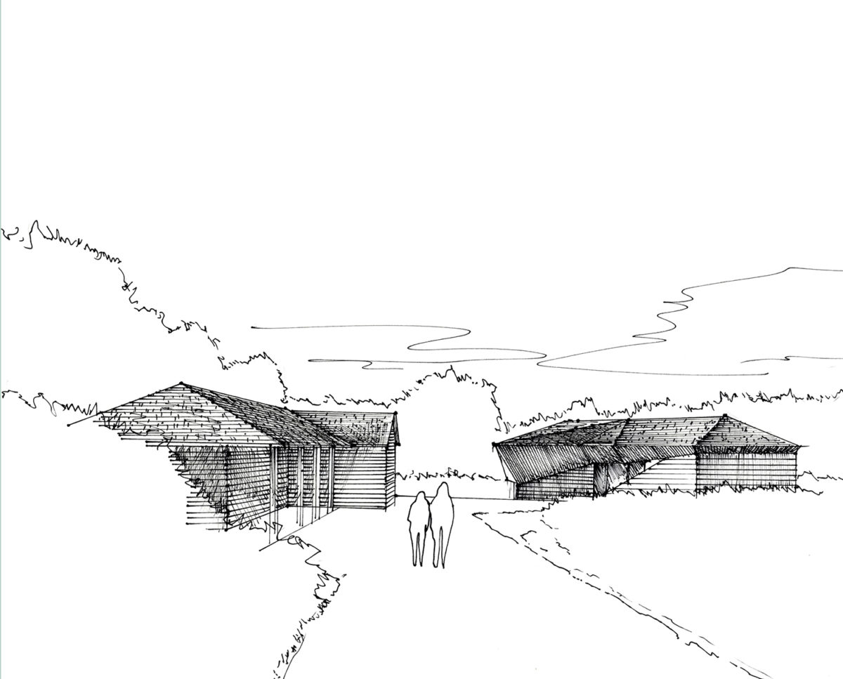Sketch of Brooks Barn (Para 55). Designed by Hawkes Architecture, this energy efficient grand design, follows passive house principles.