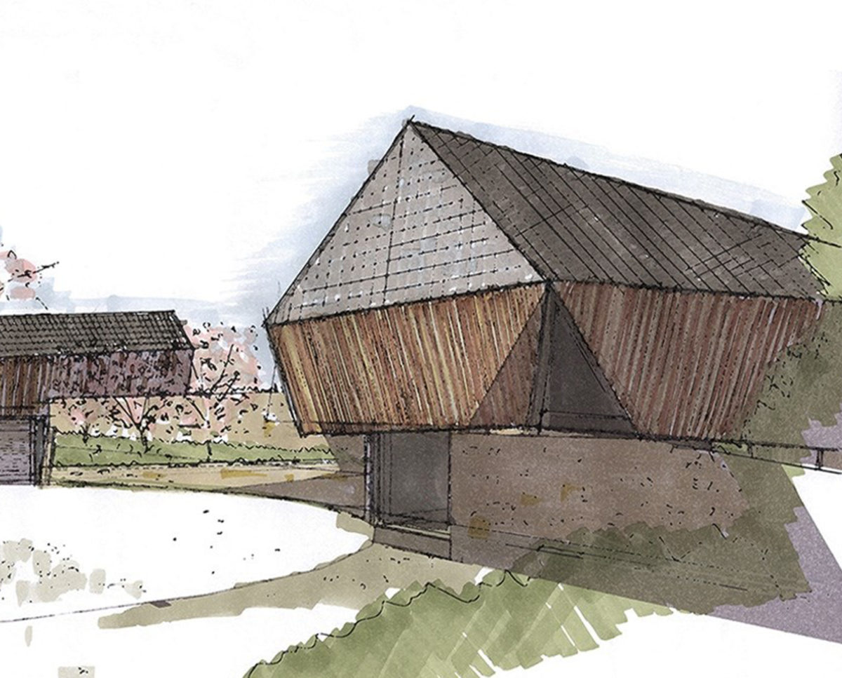 Pen studies of Shew Valley (Para 134). Designed by Hawkes Architecture, this energy efficient grand design, follows passive house principle