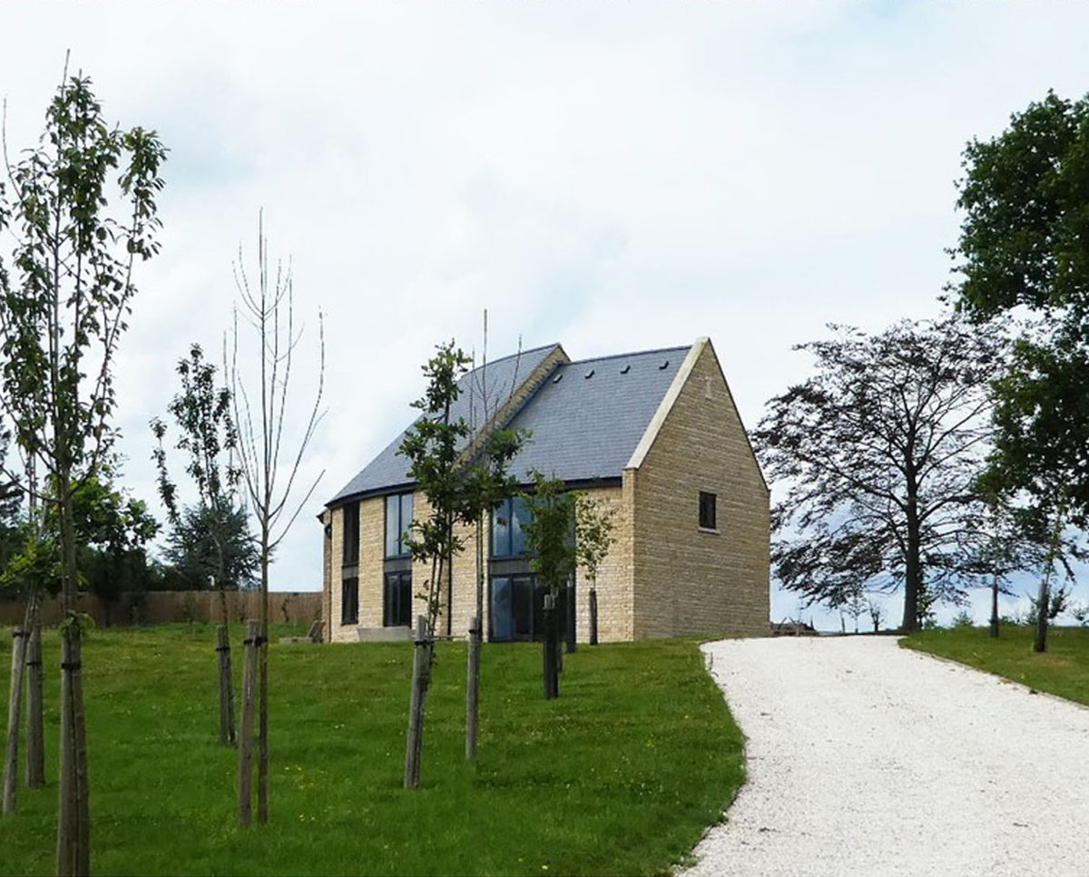 Spinneys (Para 55). Designed by Hawkes Architecture, this energy efficient grand design, follows passive house principles.