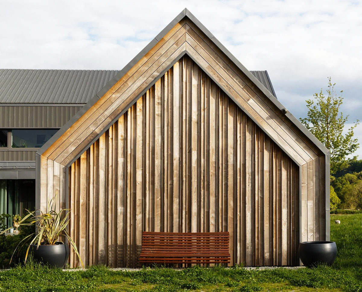 English Sweet Chestnut timber cladding detail of View Point (Para 55). Designed by Hawkes Architecture, this energy efficient grand design, follows passive house principles.